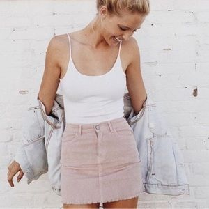 Pink Corduroy Skirt from Brandy Melville